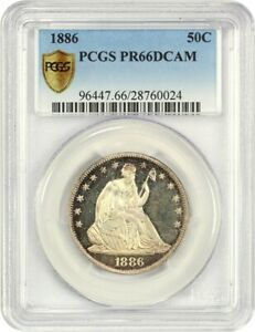 1886 50C PCGS PR 66 DCAM   TIED FOR FINEST KNOWN   LIBERTY SEATED HALF DOLLAR