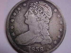 1838 CAPPED BUST HALF DOLLAR 50CENTS  SILVER COIN    MUST SEE