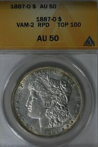 1887   O VAM 2 RPD TOP 100  AU 50  ANACS  MORGAN SILVER  $1 MISS LIBERTY