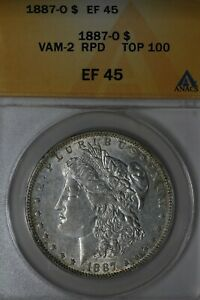 1887   O VAM 2 RPD TOP 100   XF EF 45  ANACS  MORGAN SILVER  $1 MISS LIBERTY