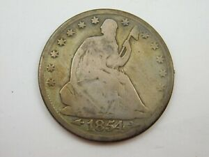 1854 SEATED HALF DOLLAR G CONDITION  857