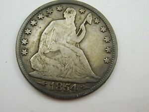 1854 O SEATED HALF DOLLAR VG CONDITION  860
