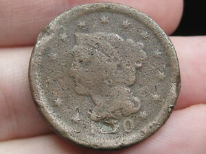 1850 BRAIDED HAIR LARGE CENT PENNY