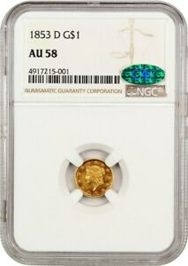 1853 D G$1 NGC/CAC AU58   SO CLOSE TO MINT STATE    1 GOLD COIN