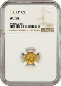 1851 D G$1 NGC AU58   LESS THAN 10 000 MINTED    1 GOLD COIN