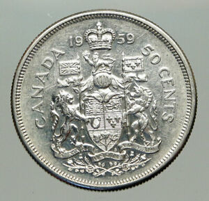 Click now to see the BUY IT NOW Price! 1959 CANADA QUEEN ELIZABETH II ARMS CROWN VINTAGE SILVER 50 CENTS COIN I85130