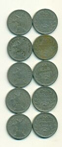 5 OLDER 20 CENTAVO COINS FROM CHILE W/ CONSECUTIVE DATES OF 1921 TO 1925