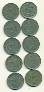 5 OLDER 20 CENTAVO COINS FROM CHILE W/ CONSECUTIVE DATES OF 1937 TO 1941