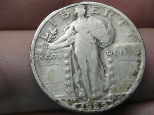 1929 S SILVER STANDING LIBERTY QUARTER FINE/VF DETAILS