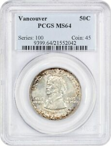 1925 VANCOUVER 50C PCGS MS64   LOW MINTAGE ISSUE   SILVER CLASSIC COMMEMORATIVE
