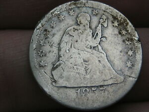 1857 P SILVER SEATED LIBERTY QUARTER  GOOD DETAILS