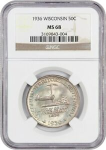 1936 WISCONSIN 50C NGC MS68   PRETTY TONING   SILVER CLASSIC COMMEMORATIVE