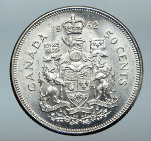 Click now to see the BUY IT NOW Price! 1962 CANADA QUEEN ELIZABETH II ARMS CROWN VINTAGE SILVER 50 CENTS COIN I85261