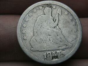 1857 SILVER SEATED LIBERTY QUARTER  LOVE TOKEN
