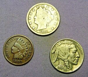 OLD US COIN ESTATE LOT INDIAN HEAD LINCOLN WHEAT & STEEL PENNY CENT 3 COIN SET