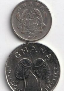 2 DIFFERENT COINS FROM GHANA   2007 10 PESEWAS & 1999 50 CEDI