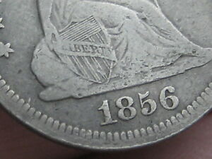 1856 P SILVER SEATED LIBERTY QUARTER  FINE DETAILS