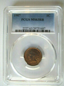 1907 INDIAN HEAD CENT 1C PENNY   GRADED PCGS MS63 RB