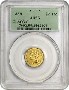1834 CLASSIC HEAD $2 1/2 PCGS AU55  OGH    2.50 EARLY GOLD COIN