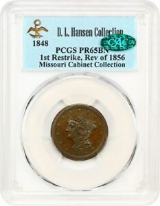 1848 1/2C PCGS/CAC PR 65 BN RESTRIKE  EX MISSOURI CABINET COLLECTION/D.L. HANSEN