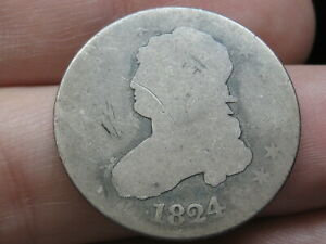 1824/2 CAPPED BUST QUARTER 25 CENT PIECE  4 OVER 2 OVERDATE