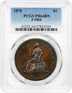 1870 J 1004 P$1 PCGS PR 64 BN   PATTERN COINAGE    PATTERN ISSUE