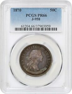 1870 J 958 P50C PCGS PR 66   BEAUTIFUL RAINBOW TONING   PATTERN COINAGE