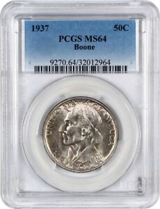 1937 BOONE 50C PCGS MS64   LOW MINTAGE ISSUE   SILVER CLASSIC COMMEMORATIVE