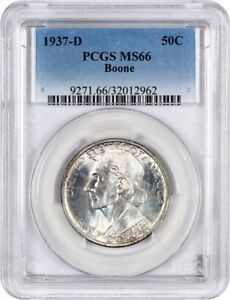 1937 D BOONE 50C PCGS MS66   LOW MINTAGE ISSUE   SILVER CLASSIC COMMEMORATIVE