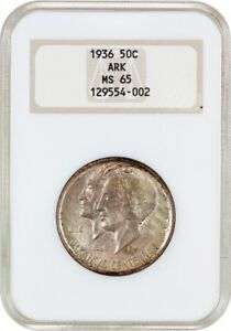 1936 ARKANSAS 50C NGC MS65  OH  LOW MINTAGE ISSUE   SILVER CLASSIC COMMEMORATIVE