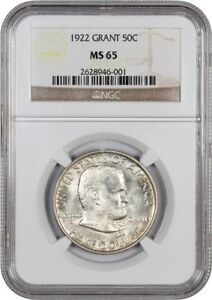 1922 GRANT 50C NGC MS65   POPULAR COMMEMORATIVE ISSUE