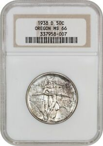 1938 D OREGON 50C NGC MS66   LOW MINTAGE ISSUE   SILVER CLASSIC COMMEMORATIVE
