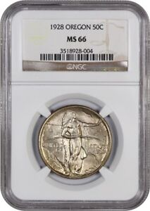 1928 OREGON 50C NGC MS66   LOW MINTAGE ISSUE   SILVER CLASSIC COMMEMORATIVE