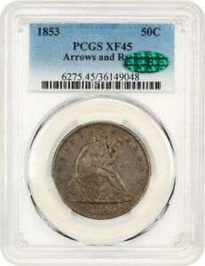1853 50C PCGS/CAC XF45  ARROWS & RAYS  DESIRABLE TYPE COIN   DESIRABLE TYPE COIN