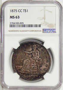 1875 CC $1 NGC MS 63   UNCIRCULATED CARSON CITY TRADE DOLLAR