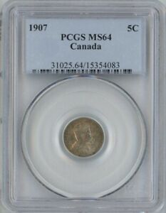 Click now to see the BUY IT NOW Price! CANADA 1907 SILVER 5 CENTS PCGS MS64