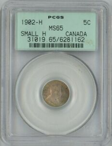 Click now to see the BUY IT NOW Price! CANADA 1902 H SILVER 5 CENTS SMALL H PCGS MS65 OGH