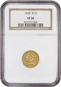 1838 $2 1/2 NGC VF30   CLASSIC HEAD TYPE COIN   2.50 EARLY GOLD COIN