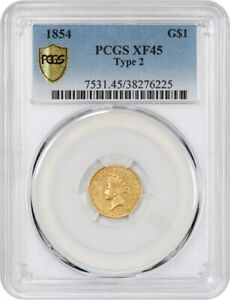 1854 G$1 PCGS XF45  TYPE 2   TYPE 2 VARIETY   1 GOLD COIN