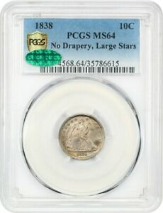 1838 10C PCGS/CAC MS64  LARGE STARS NO DRAPERY  LIBERTY SEATED DIME