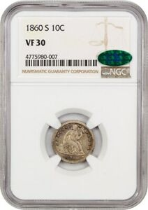 1860 S 10C NGC/CAC VF30   KEY S MINT SEATED DIME   LIBERTY SEATED DIME