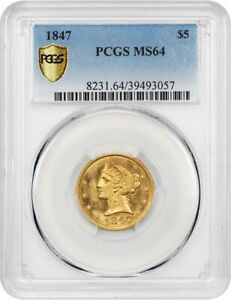Click now to see the BUY IT NOW Price! 1847 $5 PCGS MS64   CHOICE NO MOTTO HALF EAGLE   LIBERTY HALF EAGLE   GOLD COIN