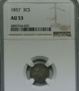1857 THREE CENT SILVER    NGC AU53