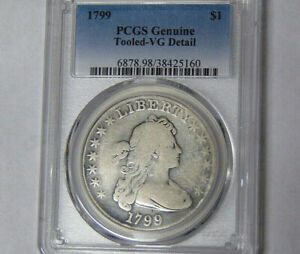 PCGS VG DETAIL 1799 DRAPED BUST SILVER DOLLAR HERALDIC EAGLE REVERSE