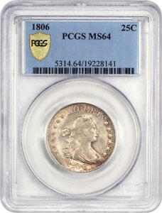 1806 25C PCGS MS64   GREAT EARLY TYPE COIN   BUST QUARTER