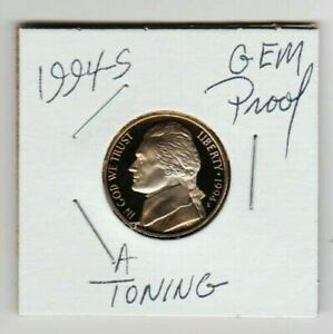 1994 S JEFFERSON NICKEL PROOF FROSTY THOMAS GEM COIN TONED PRETTY GEM