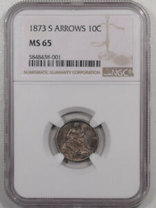 Click now to see the BUY IT NOW Price! 1873 S ARROWS LIBERTY SEATED DIME NGC MS 65 PRETTY & ORIGINAL GEM POP 2/1