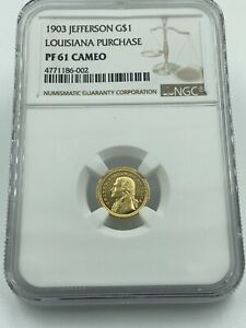 Click now to see the BUY IT NOW Price! 1903 JEFFERSON GOLD DOLLAR LOUISIANA PURCHASE NGC PF61 CAMEO