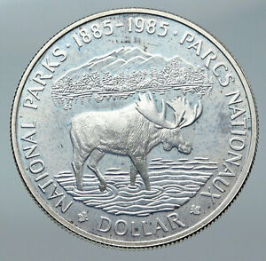 Click now to see the BUY IT NOW Price! 1985 CANADA UK QUEEN ELIZABETH II NATIONAL PARKS MOOSE PROOF SILVER COIN I85750