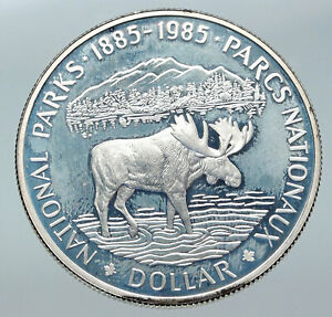 Click now to see the BUY IT NOW Price! 1985 CANADA UK QUEEN ELIZABETH II NATIONAL PARKS MOOSE PROOF SILVER COIN I85754
